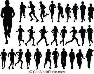 grande, correndo, collezione, persone