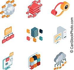 grande, dati, analisi, icone