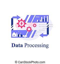 grande, dati, tecnologia informatica, elaborazione, digitale, analisi, bloccare, magazzino