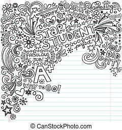 grande, doodles, studente, quaderno