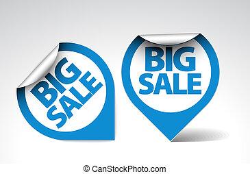 grande, etichette, vendita, /, adesivi, rotondo