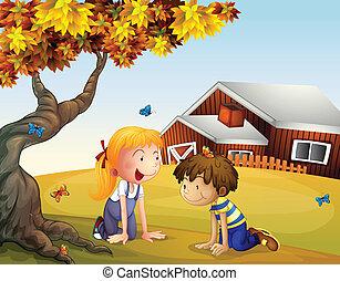 grande, farfalle, bambini, albero, gioco