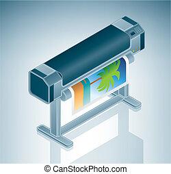 grande, foto, stampante, /, plotter