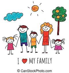grande, immagine, vettore, famiglia, felice