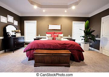 grande, interno, camera letto