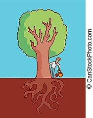 grande, irrigazione, albero, radici, uomo