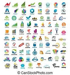 grande, logos, set, finanza, vettore