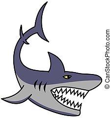 grande, mascella, squalo, denti, affilato, aperto