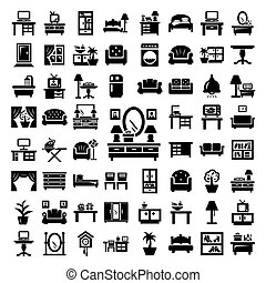 grande, mobilia, set, icone