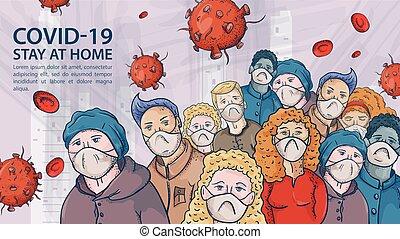 grande, molto, contorno, illustrazione, maschere, coronavirus, avvertimento, covind, iscrizione, folla, molecole, 2019-ncov, persone, virus, rosso, medico