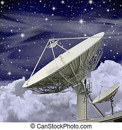 grande, piatto, pietanza, satellite