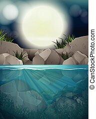 grande, pieno, fiume, notte, luna