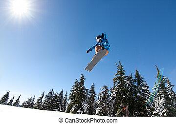 grande, prese, maschio, snowboarder, aria.