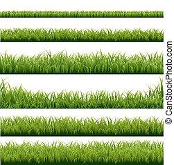 grande, profili di fodera, set, erba verde