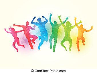grande, saltare, gruppo, persone