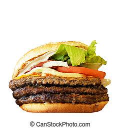 grande, saporito, bianco, hamburger, isolato