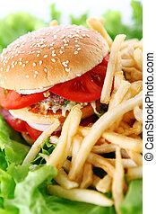 grande, saporito, frigge, hamburger