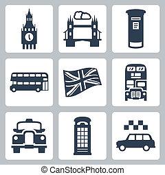 grande, set, icone, vettore, londra, gran bretagna