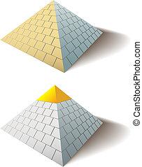 grande, set, oro, egiziano, berretto, uno, piramide, piramidi