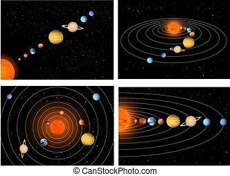 grande, set, solare, bello, sistema