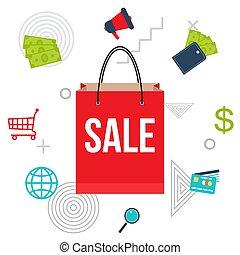 grande, shopping, manifesto vendita, borsa
