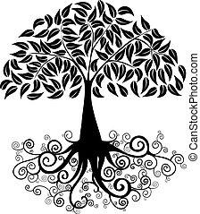 grande, silhouette, albero