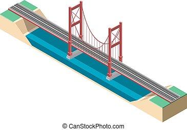 grande, sospensione, isometrico, bridge.