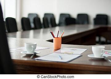 grande, tavola, primo piano, stanza riunione