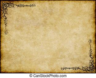 grande, vecchio, struttura, carta, disegno, fondo, ornare, pergamena