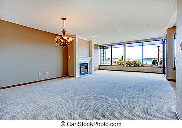grande, vivente, appartamento, stanza, windows.