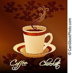 grani, tazza, caffè, caldo