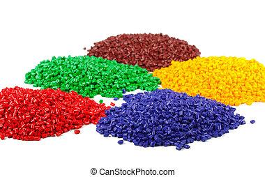 granuli, colorito, plastica