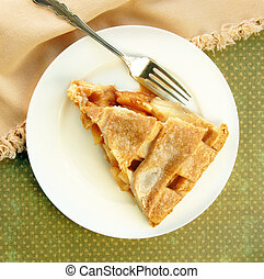 grata, cima, servire, torta mela
