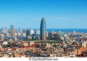 grattacieli, barcelona`s, agbar., orizzonte, includere, torre