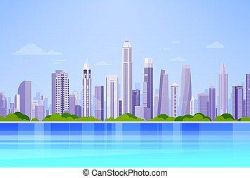grattacielo, cityscape, panorama, vista, fondo, skyline città