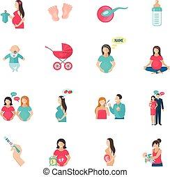 gravidanza, appartamento, icone