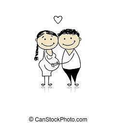 gravidanza, attesa, genitori, bambino, felice