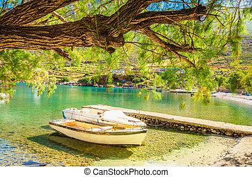 grecia, baia, mare, pacifico, porto, barca