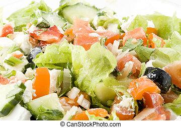 greco, fondo, insalata