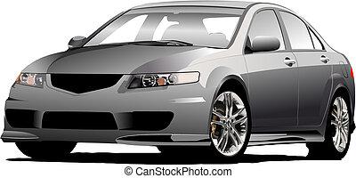 (grey), vettore, grigio, bussola, automobile, illustrazione, road.