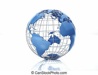 grid., metallo, atlantico, stilizzato, vista., oceano, globo, terra
