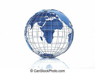 grid., metallo, pacifico, stilizzato, vista., oceano, globo, terra