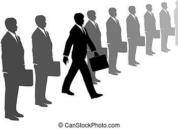 grigio, abiti affari, iniziativa, passi, linea, fuori, uomo
