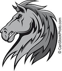 grigio, arrabbiato, stallone