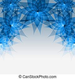 grigio, blue-, astratto, fondo, floreale, fiori