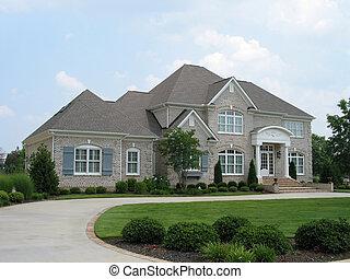 grigio, casa mattone