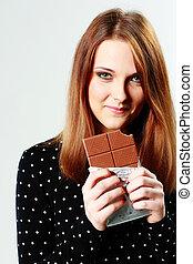 grigio, donna, fondo, giovane, cioccolato, presa a terra, felice