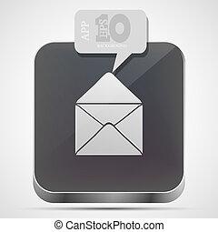 grigio, eps10, app, vettore, posta, icona, bolla, speech.