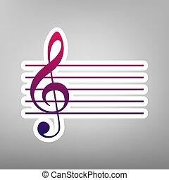 grigio, fondo., viola, g-clef., segno., pendenza, carta, musica, vector., violino, bianco, chiave, icona