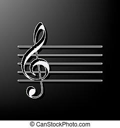 grigio, g-clef., segno., fondo., nero, stampato, vector., violino, musica, 3d, chiave, icona